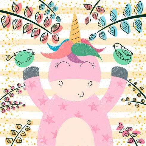 Carino unicorno nella foresta magica.