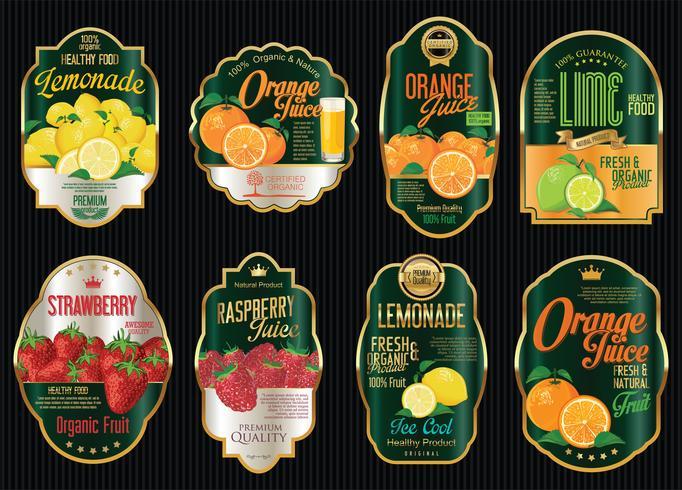 Conjunto de colección de etiquetas de oro vintage retro fruta orgánica
