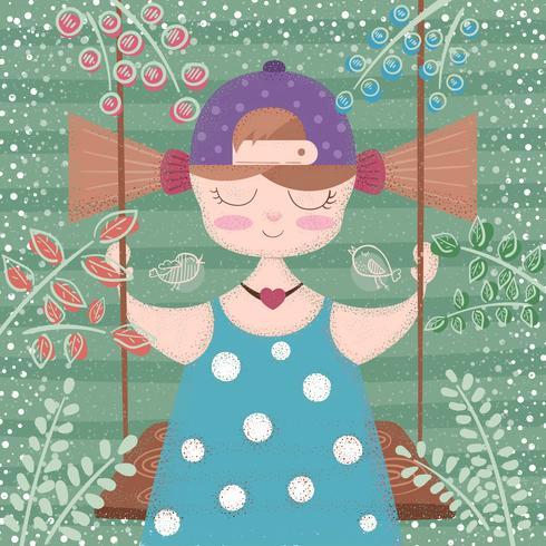 Söt, beautifu tjej - tecknad illustration