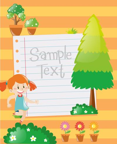 Design de papel com garota no fundo do jardim