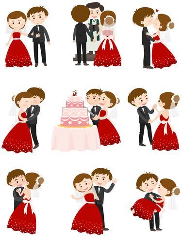 Couple de mariage dans différentes actions vecteur