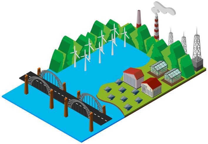 Puente y central eléctrica en diseño 3D. vector