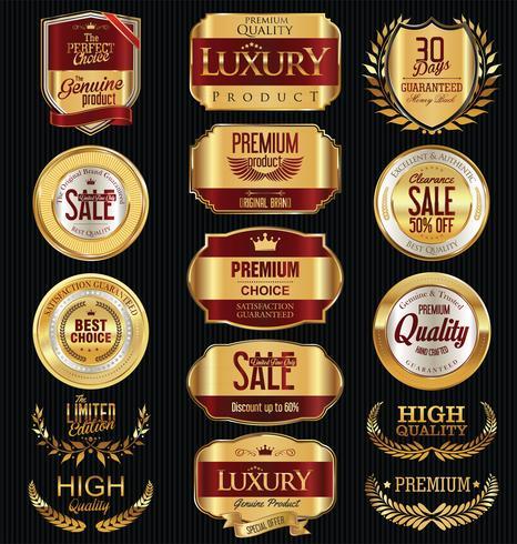 Luxury premium golden badges and labels vector