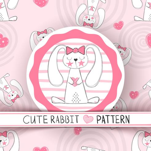Cute seamless pattern - rabbit cartoon.