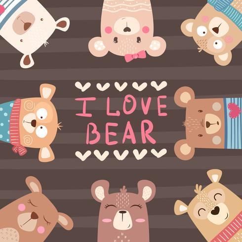 Cute winter Bear characters