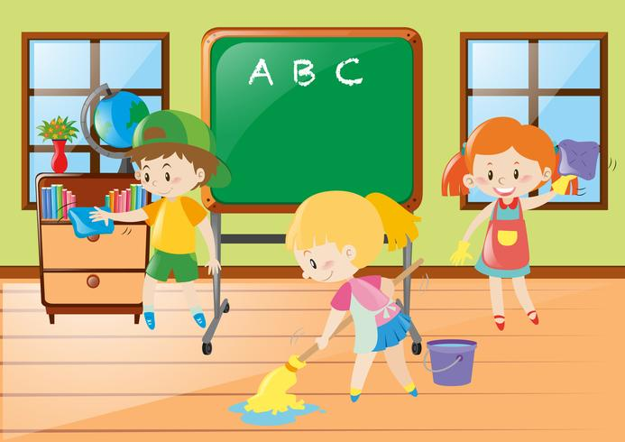 Children help cleaning classroom