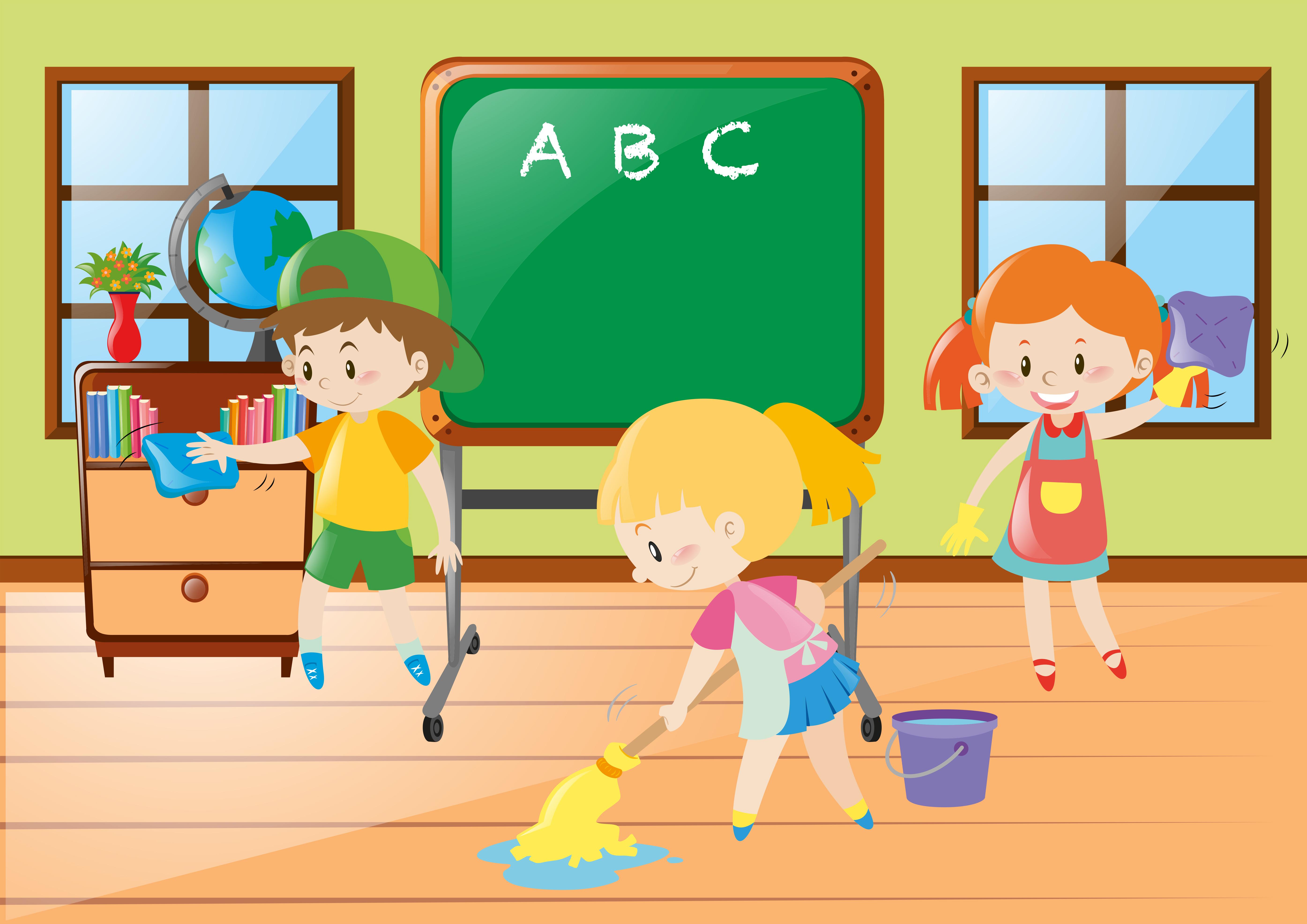 Children help cleaning classroom - Download Free Vectors ...