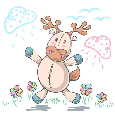 Teddybärrotwildliebe - lustige Illustration der Karikatur.