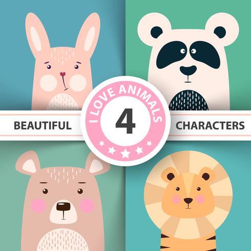Animal dessin animé mis lapin, panda, ours, lion.