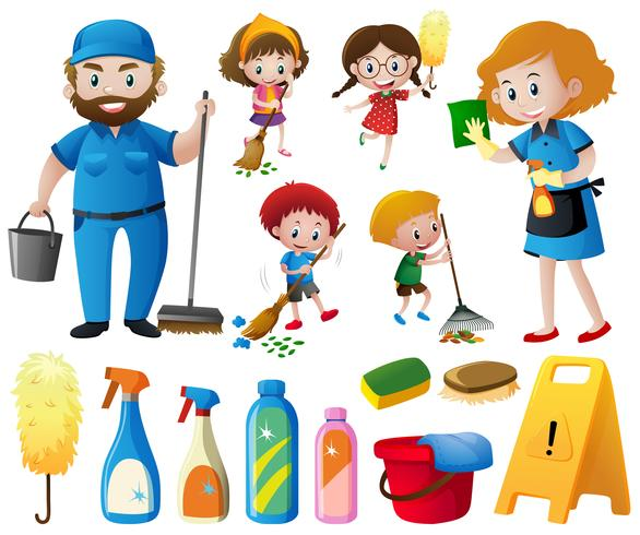 People doing chores and cleaning equipments vector
