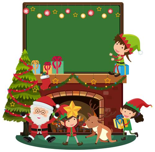 Modelo de Boad com Papai Noel e três elfos junto à lareira