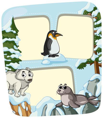 Pappersmall med djur på vintern vektor