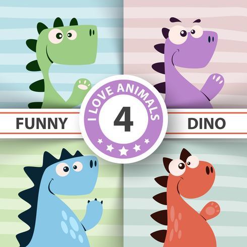 Ilustração de dinossauro fofo. Quatro itens.