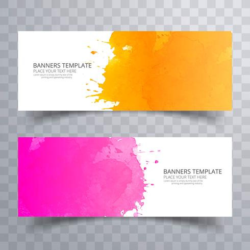 Abstract colorful watercolor header set design vector