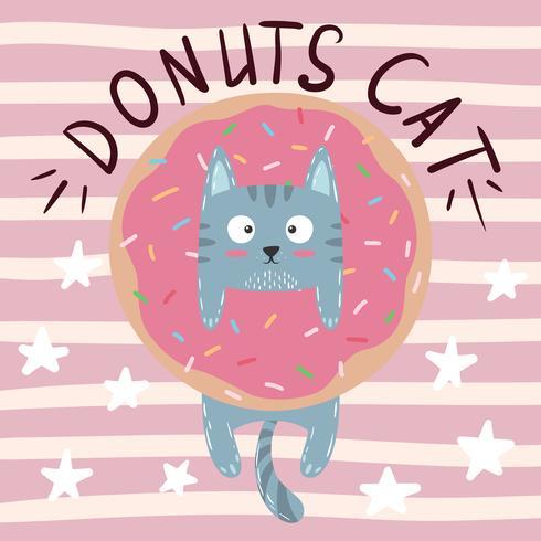 Lindo, fresco, bonito, divertido, loco, hermoso gato, gatito con donut