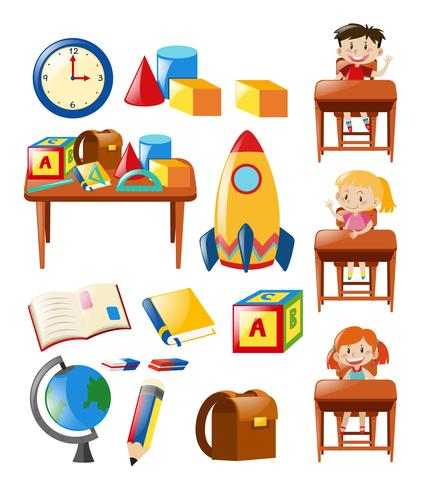 Conjunto de objetos escolares y alumnos. vector