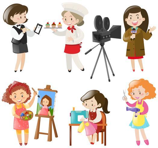 Mulheres fazendo diferentes tipos de trabalhos