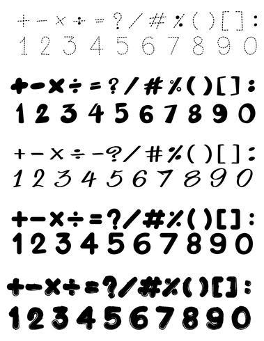 Design de fonte com números e sinais de matemática