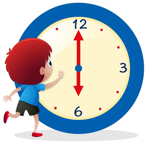 Boy telling time on blue clock