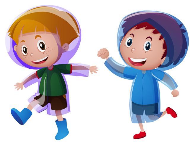Due ragazzi che indossano l'impermeabile