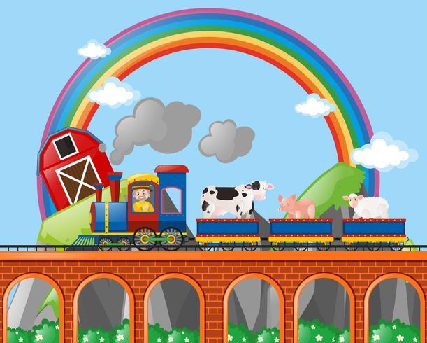 Bauer und Tiere reiten im Zug