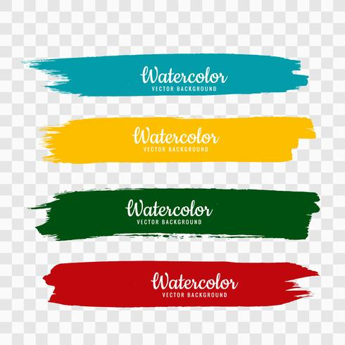 Hand draw colorful watercolor strock set vector