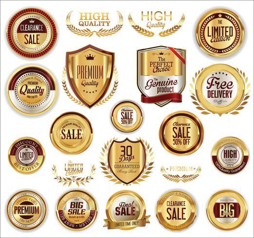 Golden sale labels retro vintage design collection vector