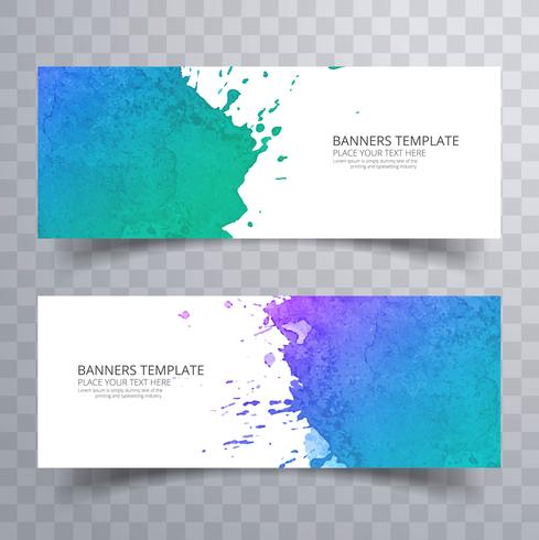 Abstract colorful watercolor header set vector