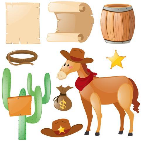 Thème western avec cheval et cactus