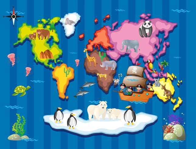 Animais selvagens em diferentes partes do mundo vetor