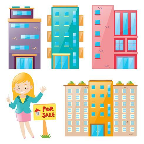 Agente imobiliário e muitos conjunto de construção vetor