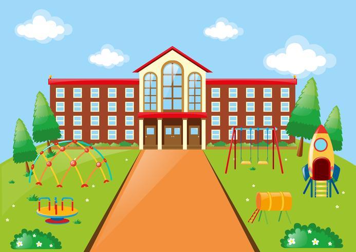 Scène met schoolgebouw en speeltuin