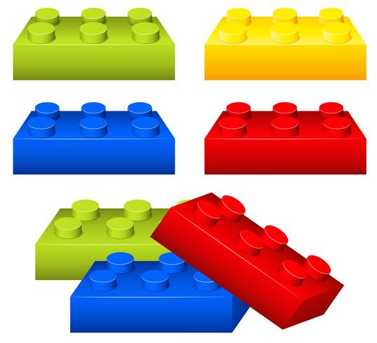 Juguete de ladrillos en muchos colores. vector