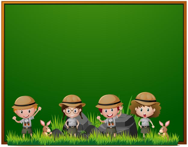 Board template with kids in safari outfit