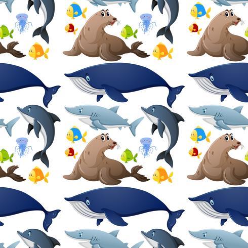 Design de fundo sem emenda com animais marinhos vetor
