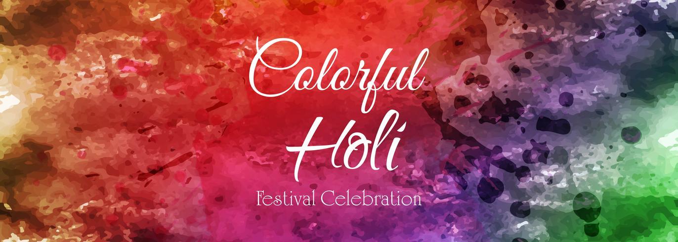 Celebrazione colorato felice banner holi tamplate vettore