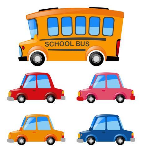 Carros e ônibus escolar vetor
