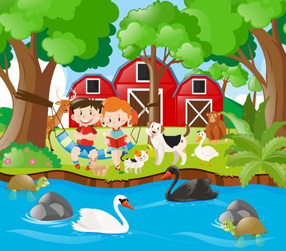 Scène de ferme avec des enfants lisant au bord de la rivière vecteur