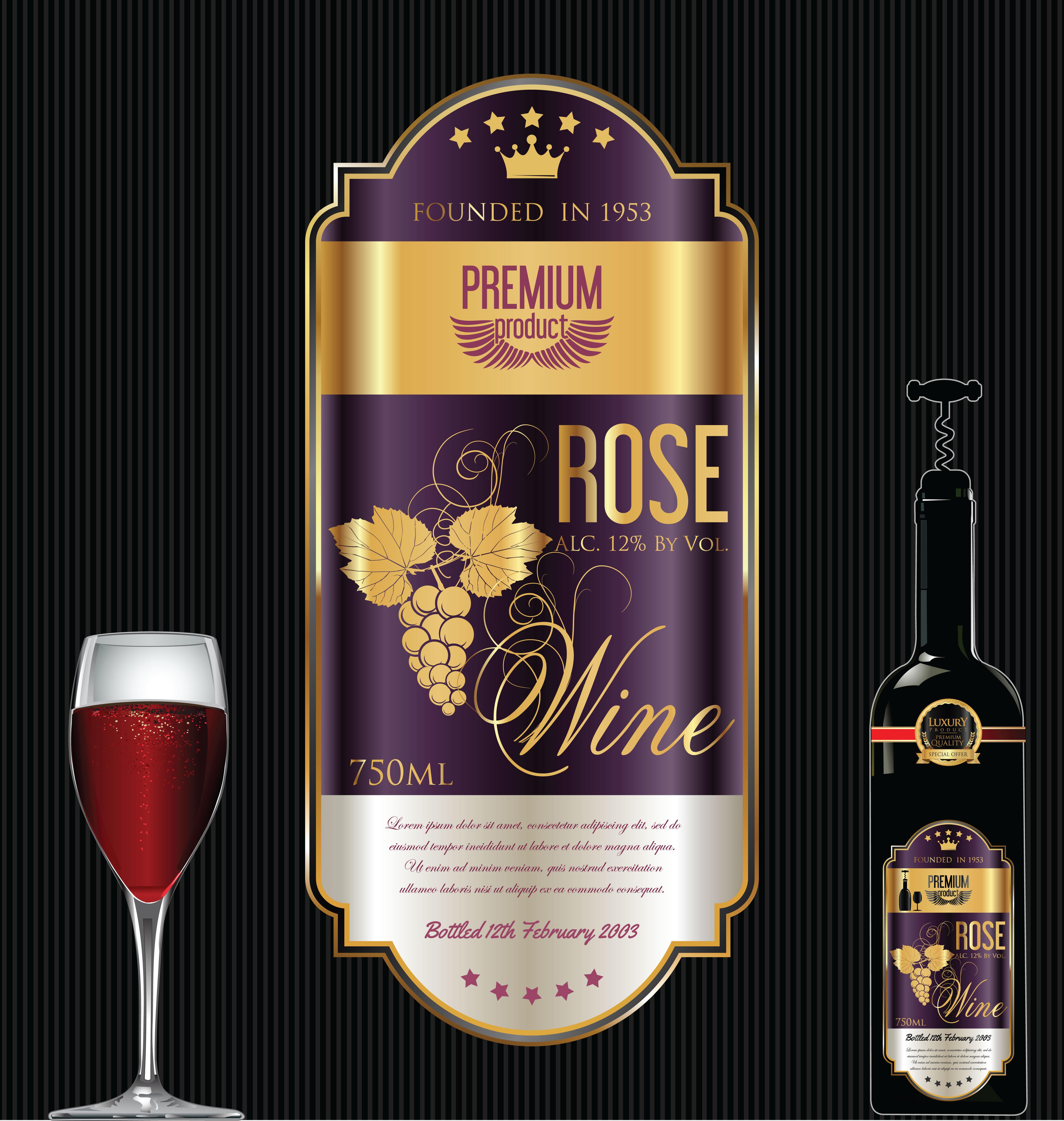 Luxury golden wine label - Download Free Vectors, Clipart ...