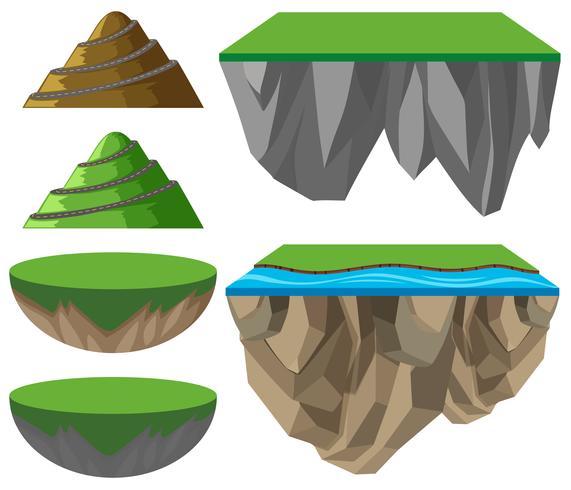 Formato diferente de montanhas e planícies vetor