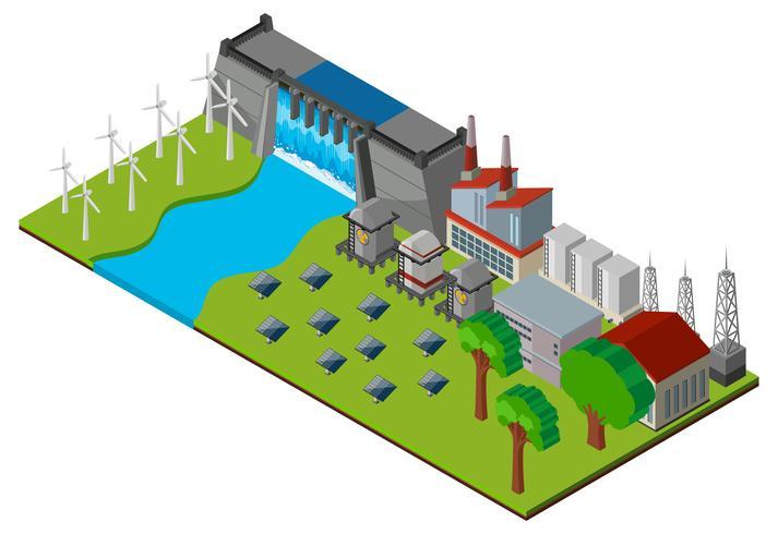 Presa y central eléctrica en diseño 3D. vector