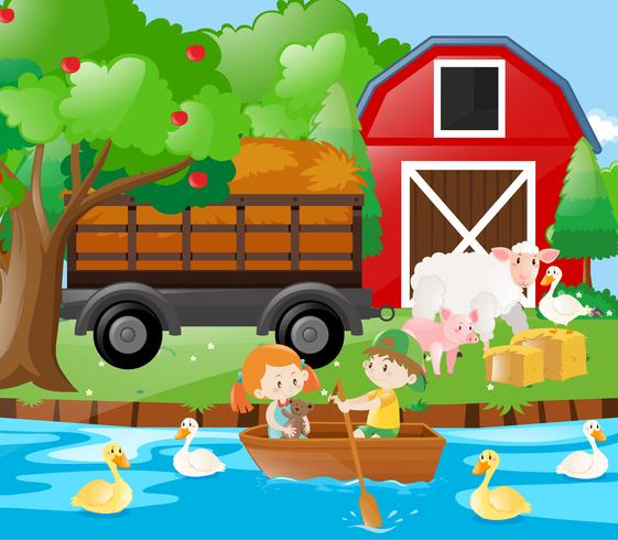 Niños y animales de granja en la granja. vector