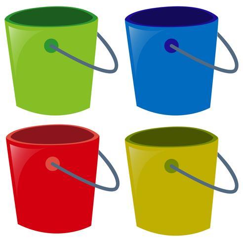 Vier emmers in verschillende kleuren vector