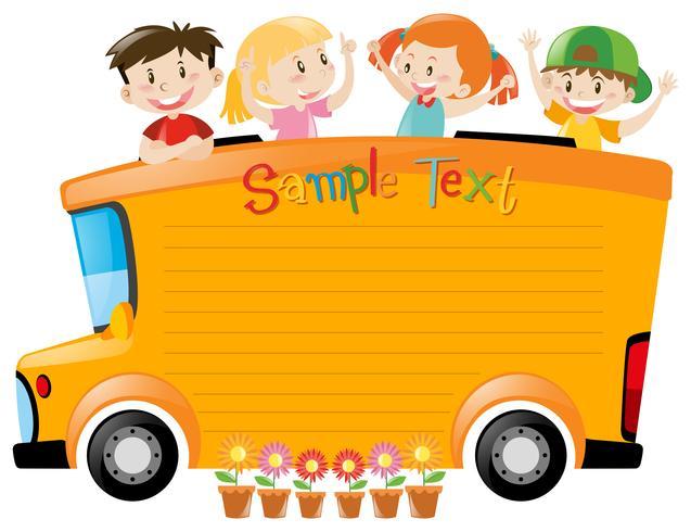 Projeto de placa com os alunos andando de ônibus