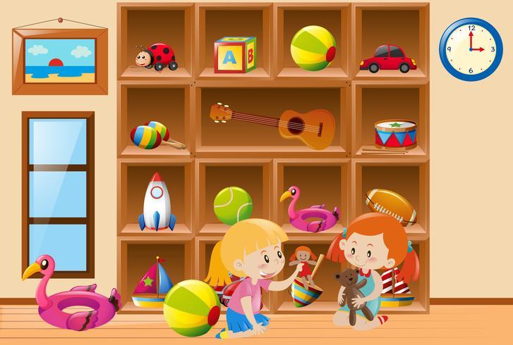 Niñas jugando con juguetes en la habitación. vector