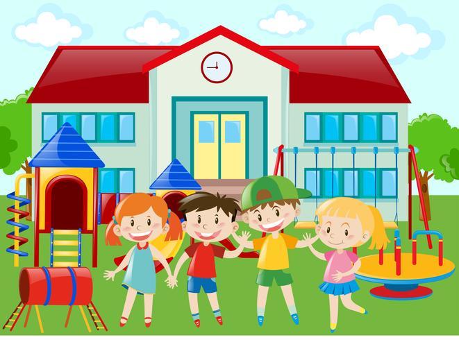 Estudiantes de jardín de infantes en el patio de recreo.