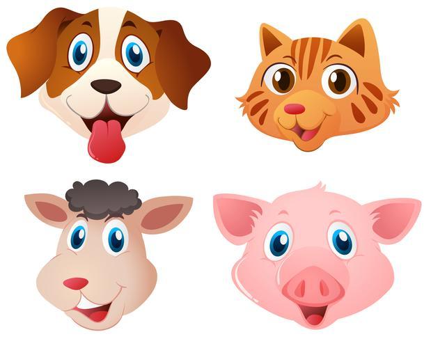 Quatro tipos de animais fofos vetor