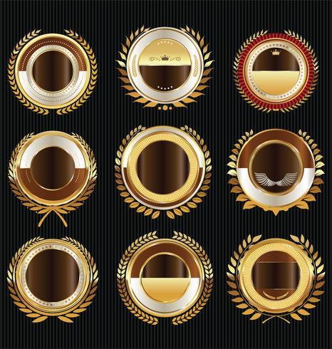 Collection de design vintage rétro des étiquettes de vente d'or
