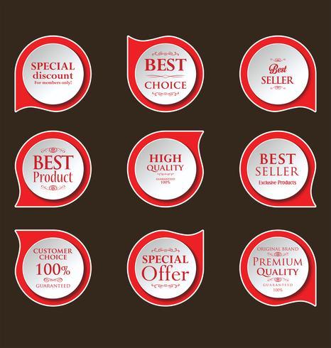 Insignias modernas de pegatinas y colección de etiquetas.