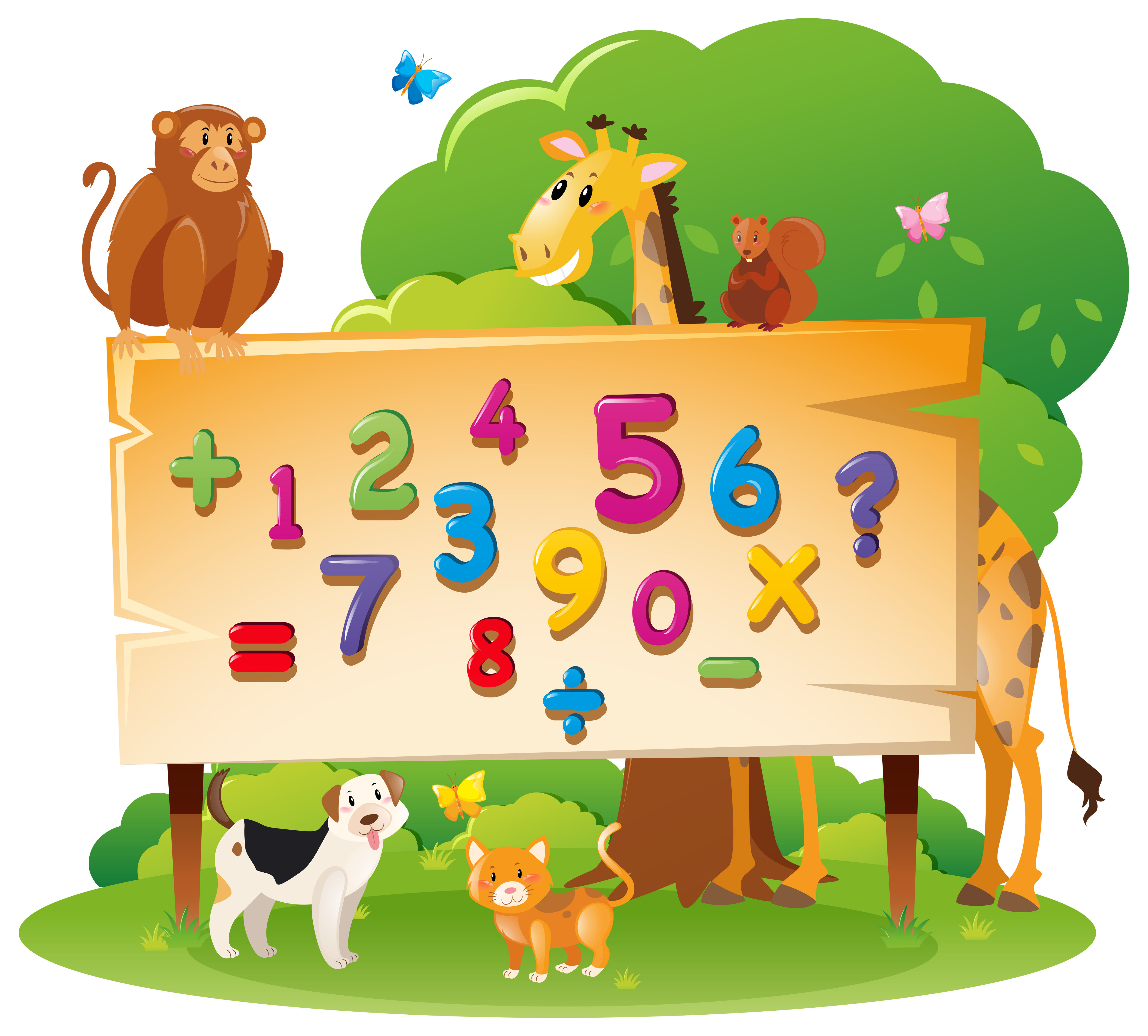 Wild animals and many numbers on board - Download Free ...
